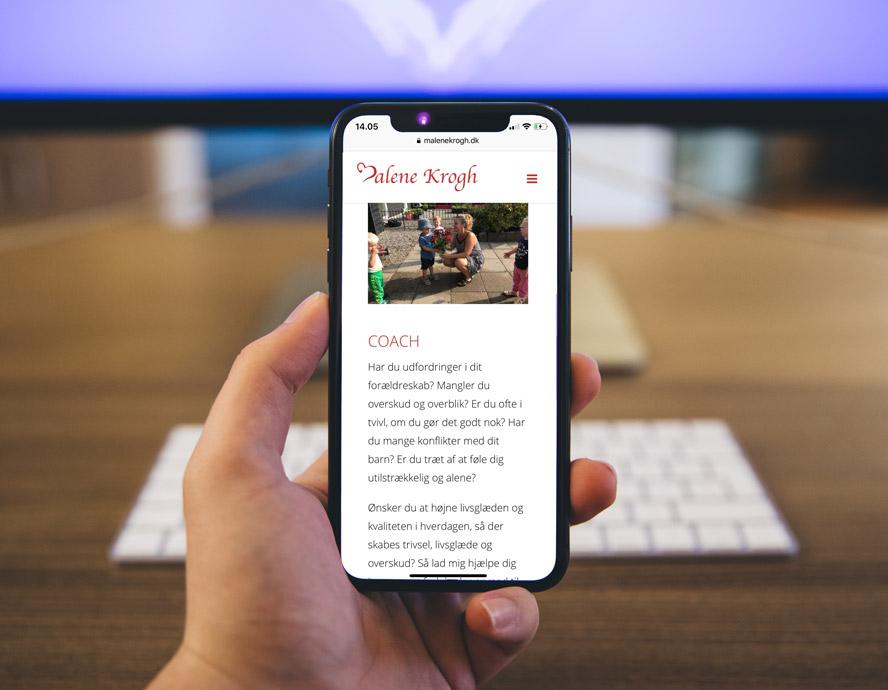 Malene Krogh mobilvenlig hjemmeside