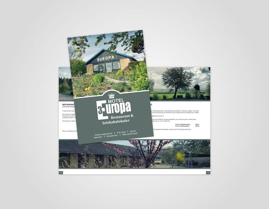 Folder design og opsætning til Motel Europa